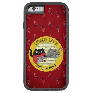 Katzen-Punkrock-Musik-E-Gitarren-Blumenrot Tough Xtreme iPhone 6 Hülle