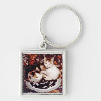 Katzen quadratisches Keychain Schlüsselanhänger