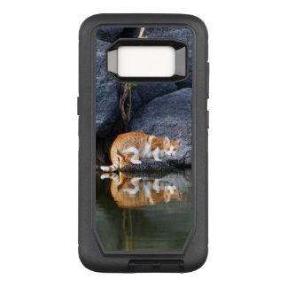 Katzen-Reflexion in Teich-Wasser-lustigem OtterBox Defender Samsung Galaxy S8 Hülle