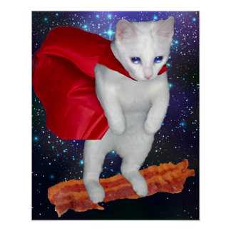 Katzen-Reitspeck im Raum mit Superheld-Kap Poster