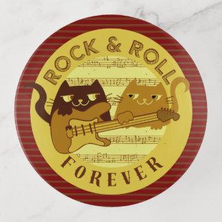 Katzen-Rockmusik-E-Gitarren-goldene Streifen Dekoschale