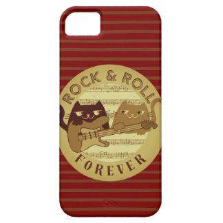 Katzen-Rockmusik-E-Gitarren-goldene Streifen Hülle Fürs iPhone 5