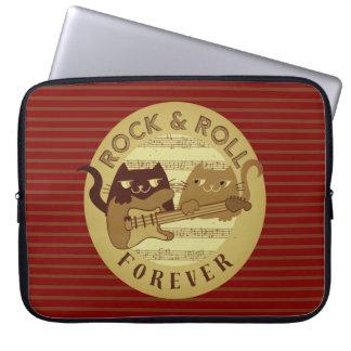 Katzen-Rockmusik-E-Gitarren-goldene Streifen Laptopschutzhülle