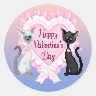 Katzen-runder Umschlag Aufkleber des Valentines