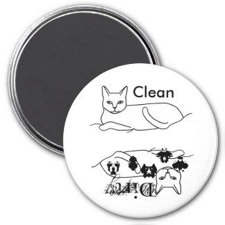 Katzen-saubere schmutzige Spülmaschinen-Magneten Runder Magnet 7,6 Cm