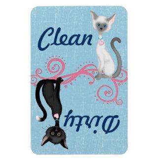 Katzen-sauberer schmutziger Spülmaschinen-Magnet Rechteckiger Fotomagnet