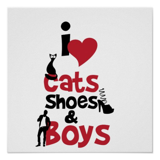 Katzen, Schuhe und Jungen der Liebe I Posterdruck