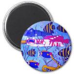 Katzen-Schwimmen mit Fischen Kühlschrankmagnet