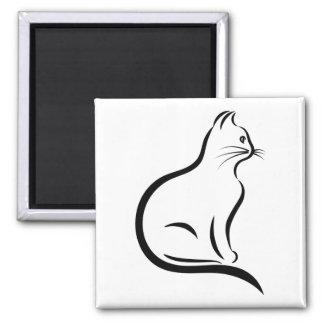 Katzen-Silhouetteillustration Quadratischer Magnet