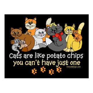 Katzen sind wie Kartoffelchips Postkarte