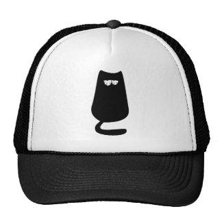Katzen-sitzende Schwarz-so müde Augen Truckerkappen