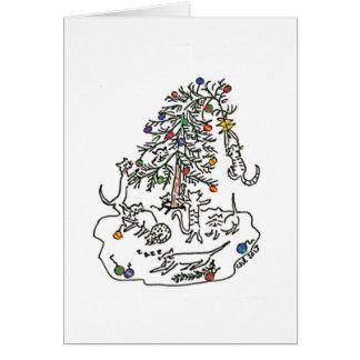 Katzen-Spiel in der Weihnachtsbaum-Karte Karte