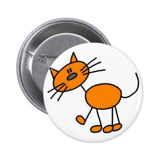 Katzen-Strichmännchen-Knopf Runder Button 5,7 Cm