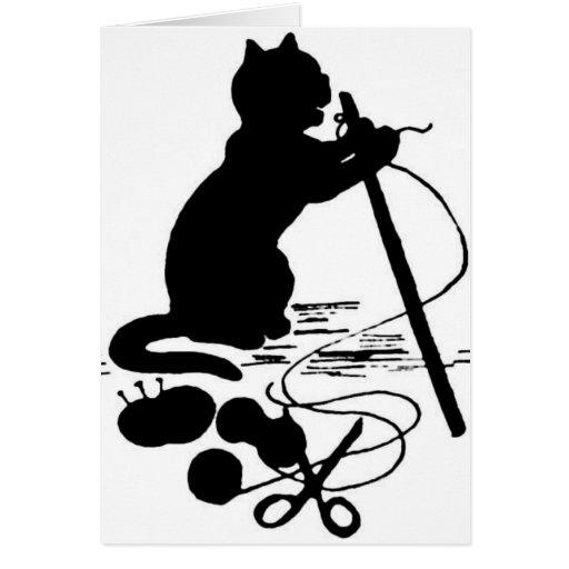Katzen-strickende Silhouette-schwarze/weiße Gruß-K Grußkarte