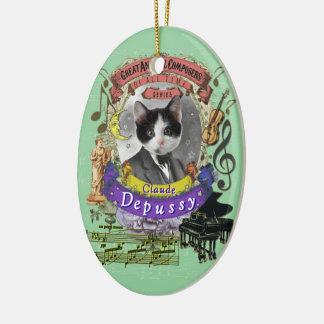 Katzen-Tierkomponistdebussy-Parodie Claudes Keramik Ornament