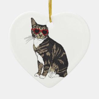 Katzen-tragende Herz-Gläser Keramik Ornament
