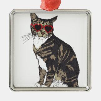 Katzen-tragende Herz-Gläser Quadratisches Silberfarbenes Ornament