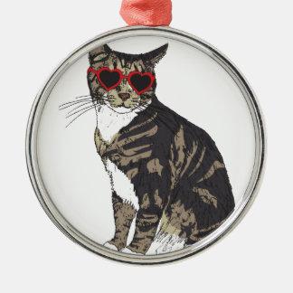 Katzen-tragende Herz-Gläser Rundes Silberfarbenes Ornament