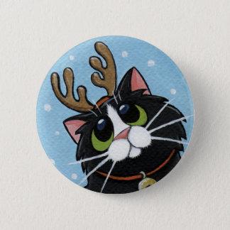 Katzen-tragende Ren-Geweihe - Runder Button 5,1 Cm