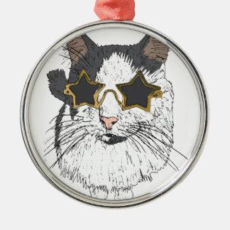 Katzen-tragende Stern-Gläser Rundes Silberfarbenes Ornament
