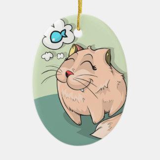 Katzen-Traum Ovales Keramik Ornament