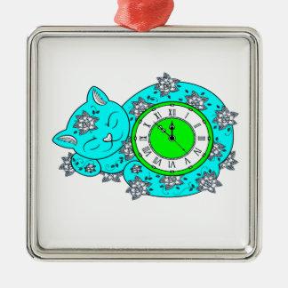 Katzen-Uhr Silbernes Ornament