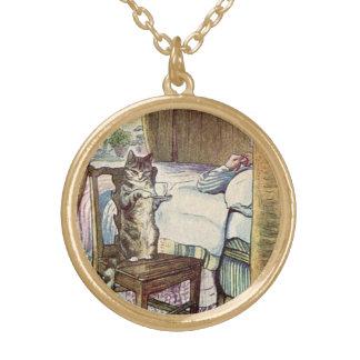 Katzen-Umhüllungs-Tee - Beatrix-Töpfer illustriert Vergoldete Kette