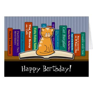 Katzen-und Buch-Geburtstags-Karte Karte