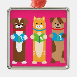 Katzen-und HundeLesezeichen Quadratisches Silberfarbenes Ornament