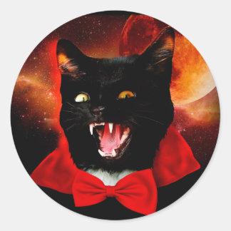 Katzen-Vampir - schwarze Katze - lustige Katzen Runder Aufkleber