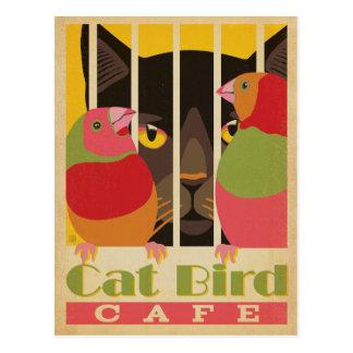 Katzen-Vogel Café Postkarte