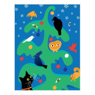 Katzen-Vogel-Weihnachtsbaum-Feiertags-Postkarte Postkarte