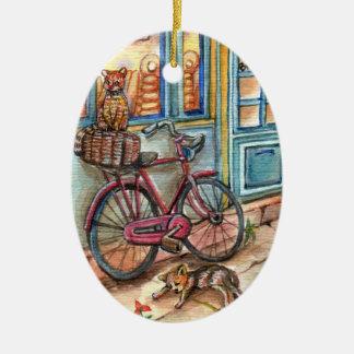 Katzen vor Bäckerei Ovales Keramik Ornament