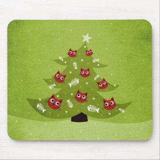Katzen-Weihnachtsbaum mit Fisch-Verzierungen Mousepad