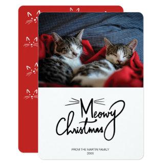 Katzen-WeihnachtsFoto-Karte Meowy Weihnachten| Karte
