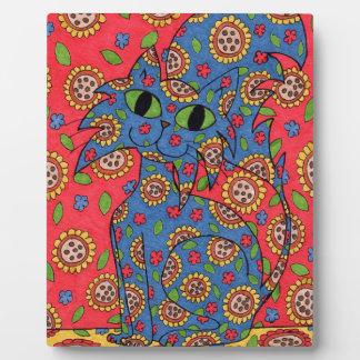 Katzenartige Blumen-Raserei Fotoplatte