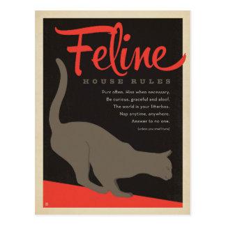 Katzenartige Haus-Regel Postkarte