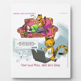 Katzenartige Sozialmedien lustig Fotoplatte