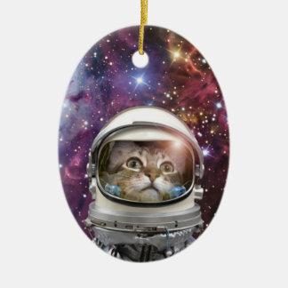 Katzenastronaut - verrückte Katze - Katze Keramik Ornament