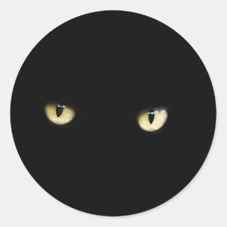 Katzenaugen-Aufkleber Halloweens schwarzer Runder Aufkleber