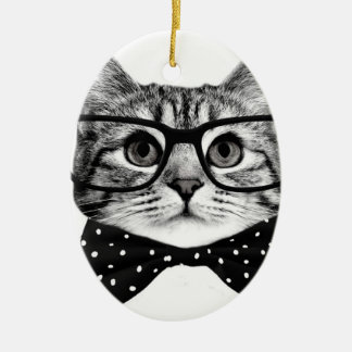 Katzenbogen-Krawatte - Glaskatze - Glaskatze Keramik Ornament