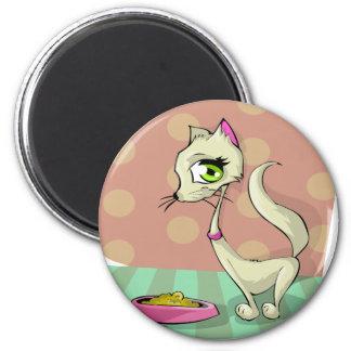 Katzenfutter, das Frühstücksfeinschmecker isst Runder Magnet 5,1 Cm