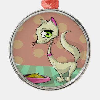 Katzenfutter, das Frühstücksfeinschmecker isst Silbernes Ornament