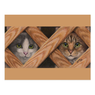Katzengrauer Tabby hinter Gitterzaunpostkarte Postkarte