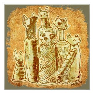 Katzenmamas mit gelbem Sand Poster
