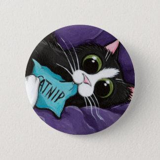 Katzenminzen-Süchtiger - Katzen-Kunst-Knopf Runder Button 5,1 Cm