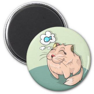 Katzentierfische, die niedliches Haustier denken Runder Magnet 5,7 Cm