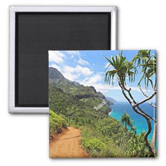 Kauai - tropische Landschaft Küste Na Pali Quadratischer Magnet
