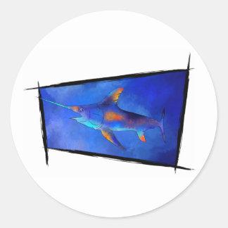 Kauderon V1 - Schöne Schwertfische Runder Aufkleber