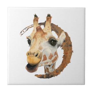 """""""Kauen"""" 2 Giraffen-Aquarell-Malerei Keramikfliese"""